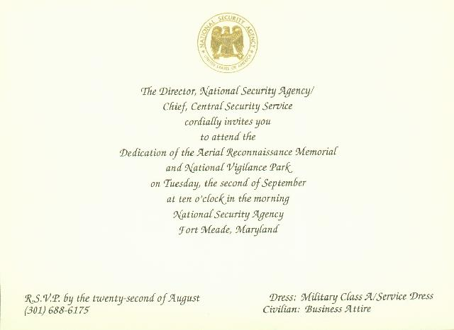 Official Invitation to the NSA Aerial Reconnaissance Memorial - 09/02 ...
